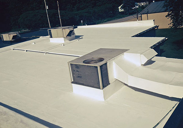 Commercial roof restored with a roof membrane coating