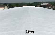 Low-slope commercial roof restored with an spf roofing system
