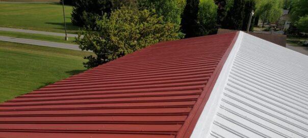 metal roof being coated