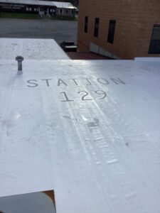 stenciled roof on firehouse