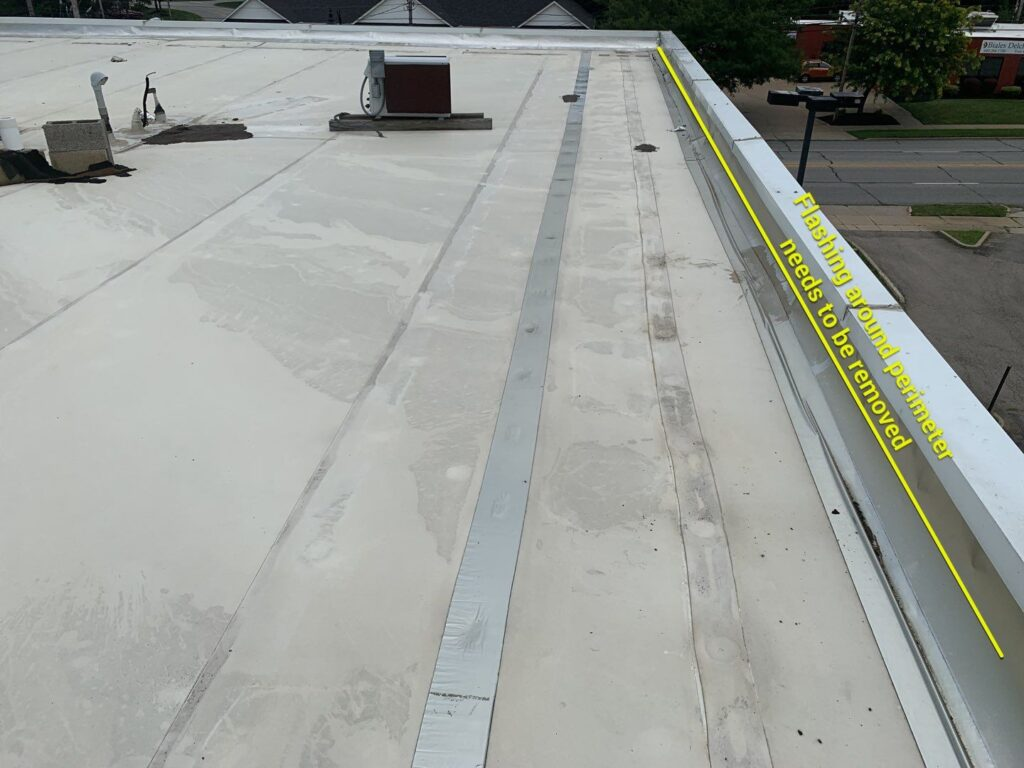 bad roof flashing spotted by Keystone Commercial Roofing in northwestern pennsylvania