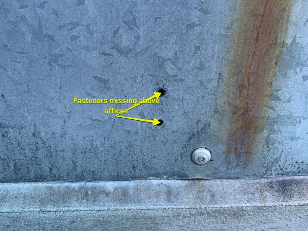 missing roof fasteners spotted by Keystone Commercial Roofing in northwestern pennsylvania