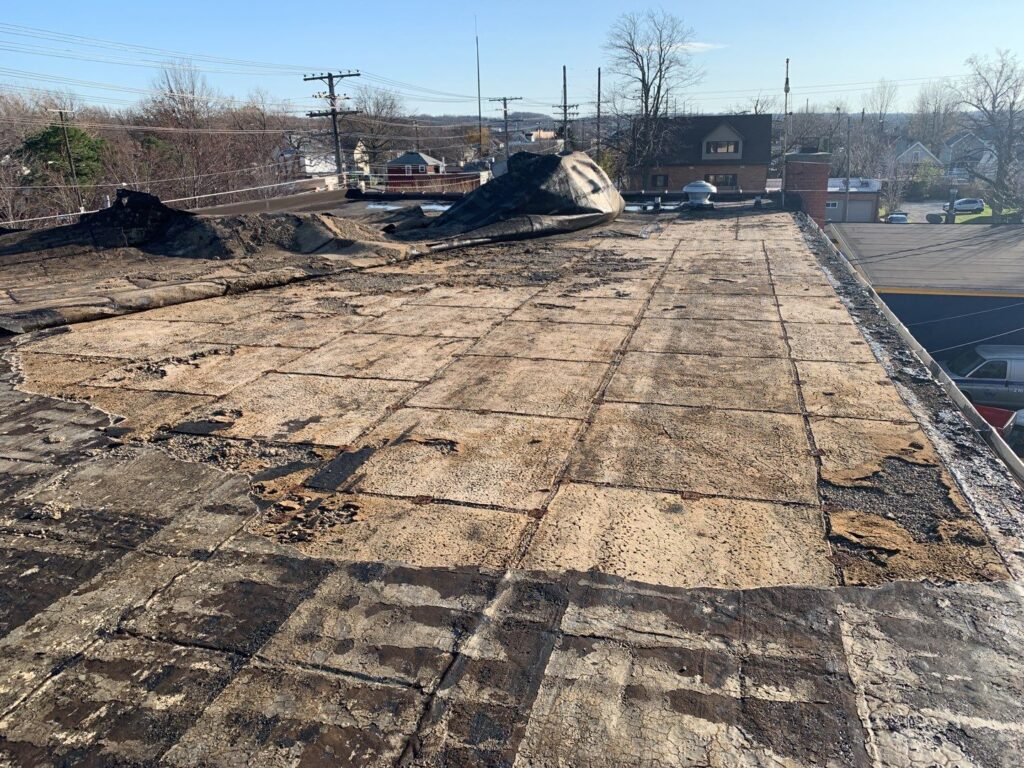 damaged roof spotted by Keystone Commercial Roofing in northwestern pennsylvania