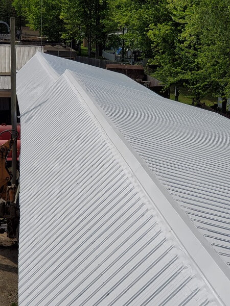 a coated metal roof