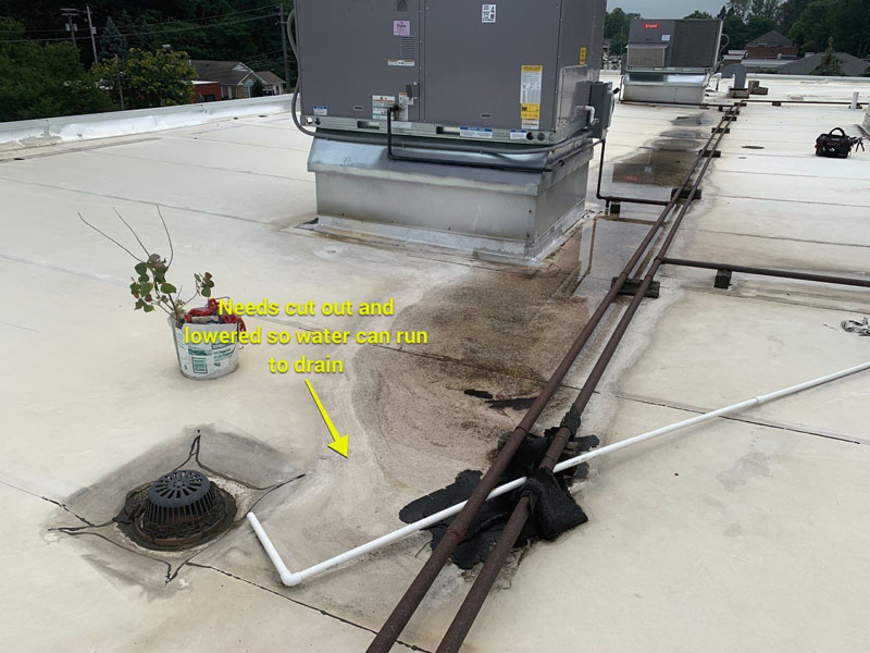 cut out roof drain