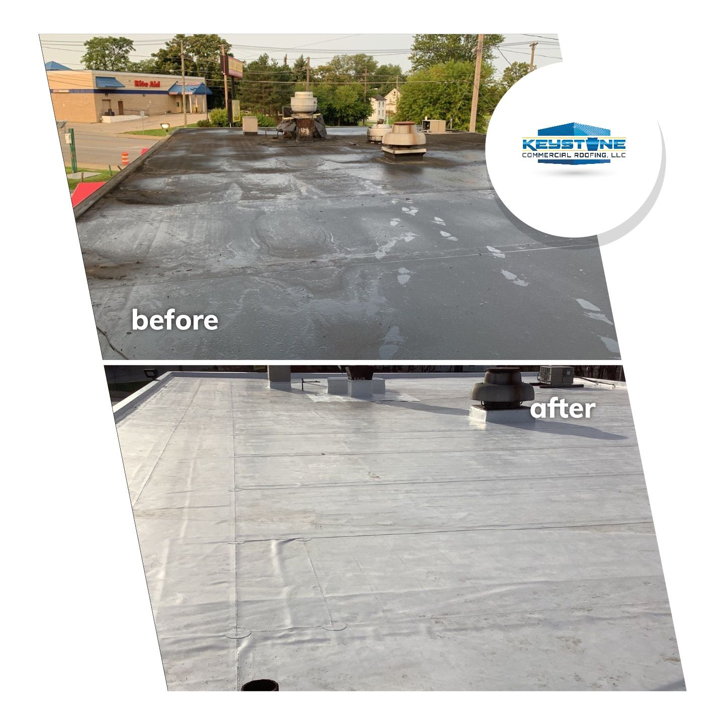 Before/After of a Flexion XL PVC Single Ply Roof System