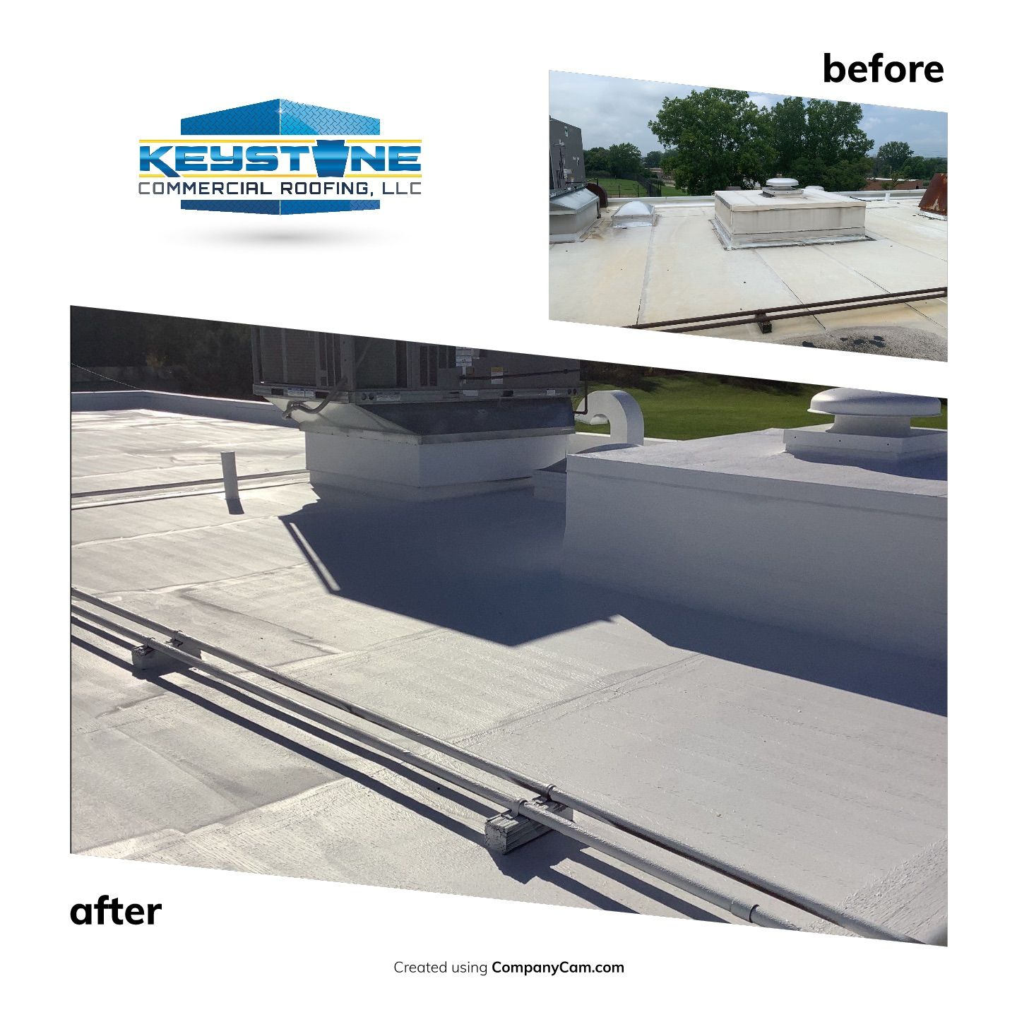Before/After of a Membrane Restoration System with Equinox Cold Weather Acrylic Coating