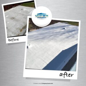 before and after roof coating by keystone commercial roofing in Crawford County, Pennsylvania